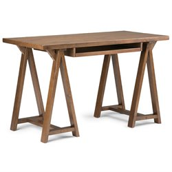 Simpli Home Sawhorse Computer Desk in Medium Saddle Brown