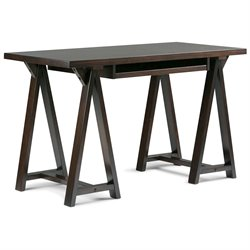 Simpli Home Sawhorse Computer Desk in Chestnut Brown