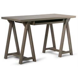 Simpli Home Sawhorse Computer Desk in Distressed Gray
