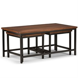 Simpli Home Skyler 3 Piece Coffee Table in Dark Cognac Brown
