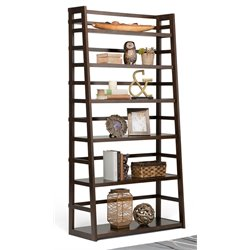 Simpli Home Acadian 6 Shelf Ladder Bookcase in Tobacco Brown