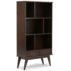 Simpli Home Draper Mid Century 6 Shelf Bookcase in Medium Auburn Brown