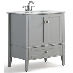 Simpli Home Chelsea White Quartz Marble Top Bathroom Vanity