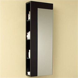 Fresca Bathroom Linen Side Cabinet with Large Mirror Door in Espresso