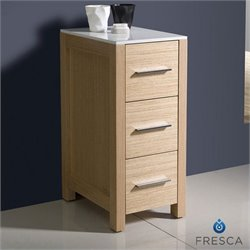 Fresca Torino Bathroom Linen Side Cabinet in Light Oak