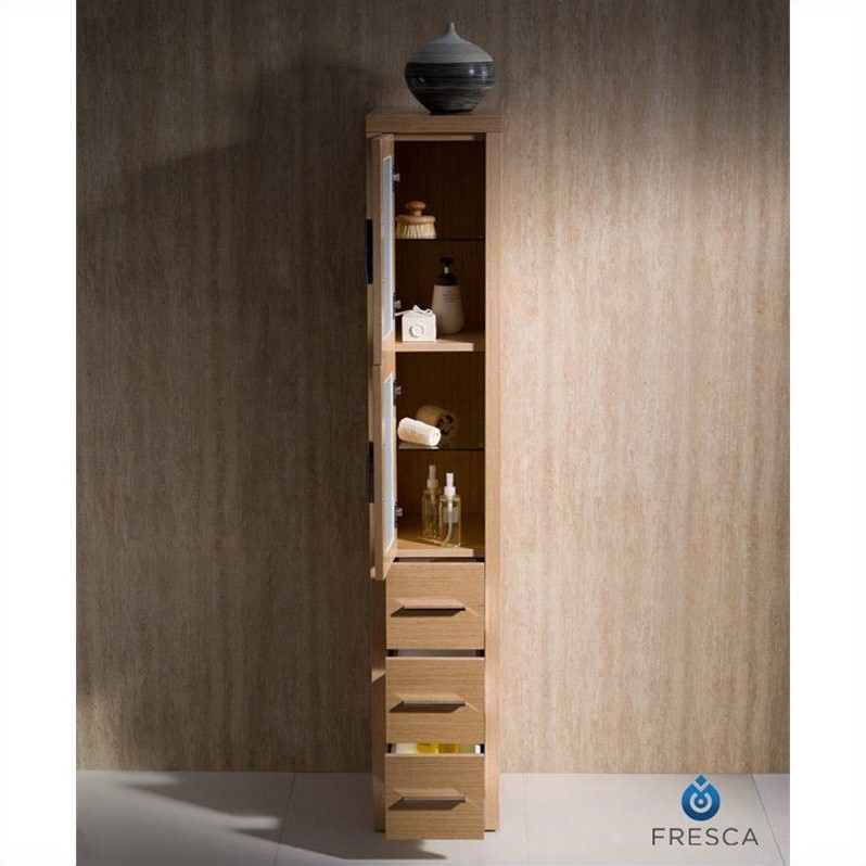 cabinets fresca torino tall bathroom linen side cabinet in light oak
