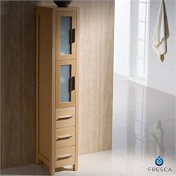 Fresca Torino Tall Bathroom Linen Side Cabinet in Light Oak
