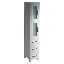 Fresca Torino Tall Bathroom Linen Side Cabinet in White