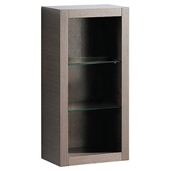 Fresca Trieste Bathroom Linen Side Cabinet with Glass Shelves in Gray Oak