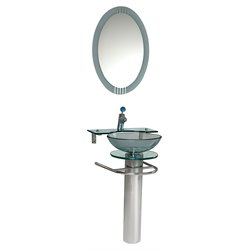 Fresca Vetro Ovale Glass Bathroom Vanity in Aqua