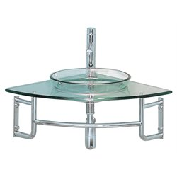 Fresca Vetro Ordinato Corner Bathroom Vanity in Aqua