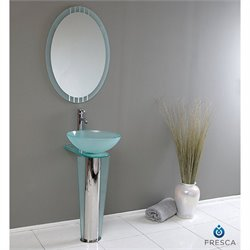 Fresca Vetro Vitale Glass Bathroom Vanity Set in Aqua