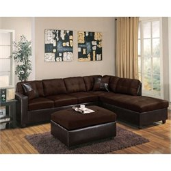 ACME Milano Faux Leather 2 Piece Sectional with Ottoman in Chocolate