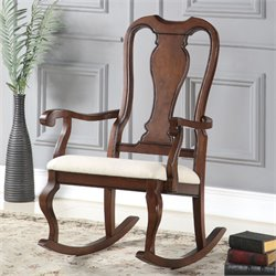ACME Furniture Sheim Rocking Chair in Beige and Cherry