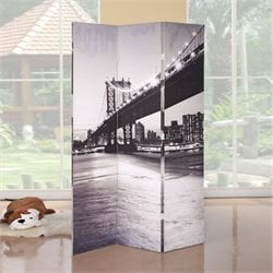 ACME Furniture Trudy 3-Panel Wooden Screen in Bridge Scenery