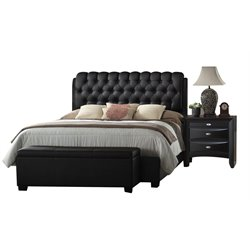 ACME Furniture Ireland II Button Tufted King Bed in Black