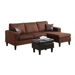 ACME Furniture Robyn Microfiber Sectional in Chocolate and Espresso