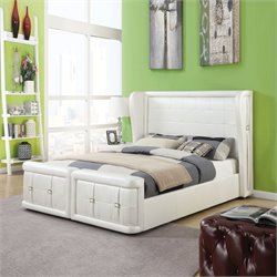 Linus Bed in Pearl White