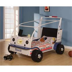 ACME Furniture Sashi Sheriff Car Twin Bed in White and Blue