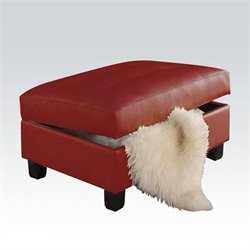 Acme Kiva Leather Match Ottoman with Storage