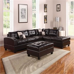 Acme Kiva Reversible Bonded Leather Match Sectional Sofa with 2 Pillows