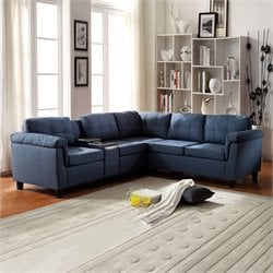 Acme Cleavon Reversible Linen and Sectional Sofa with Console