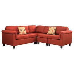 Acme Cleavon Reversible Linen Sectional Sofa with 2 Pillows