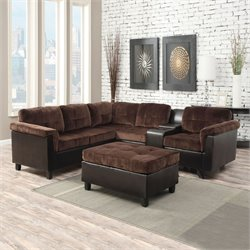 ACME Furniture Cleavon Reversible Champion Sectional in Chocolate