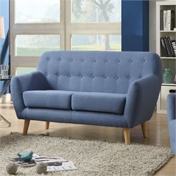ACME Furniture Ngaio Linen Loveseat in Blue