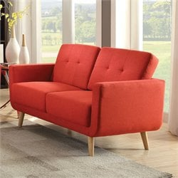 ACME Furniture Sisilla Linen Loveseat in Red