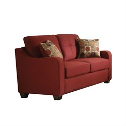 ACME Furniture Cleavon II Linen Loveseat with 2 Pillows in Red