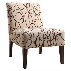 ACME Furniture Aberly Fabric Accent Chair in Beige and Espresso