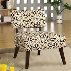 ACME Furniture Able Fabric Accent Chair in Beige Brown and Espresso