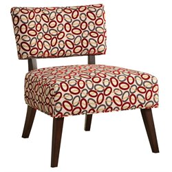 ACME Furniture Able Fabric Accent Chair in Beige Red and Espresso