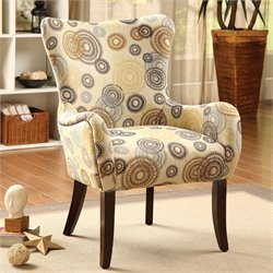 ACME Furniture Gabir Fabric Accent Chair in Beige and Espresso