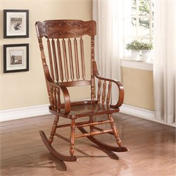 ACME Furniture Kloris Hand Carving Head Crown Rocking Chair in Tobacco