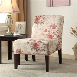 ACME Furniture Riston Fabric Accent Chair in Floral and Beige