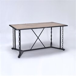 ACME Furniture Jodie Dining Table in Rustic Oak and Antique Black
