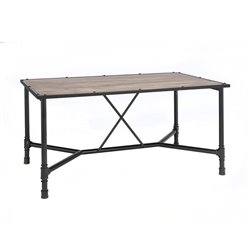 ACME Furniture Caitlin Dining Table in Rustic Oak and Black
