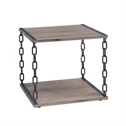 ACME Furniture Jodie End Table in Rustic Oak and Antique Black
