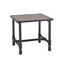 ACME Furniture Caitlin End Table in Rustic Oak and Black