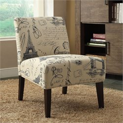 ACME Furniture Reece Fabric Accent Chair in Beige and Espresso