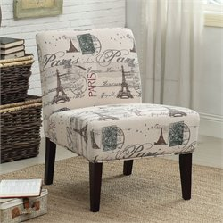 ACME Furniture Reece Fabric Accent Chair in Cream and Espresso