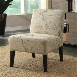 ACME Furniture Reece Map Fabric Accent Chair in Beige and Espresso