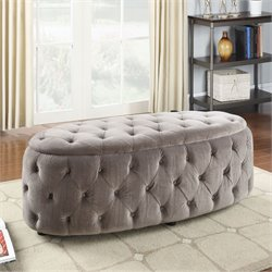 ACME Furniture Maddy Fabric Bench in Light Gray