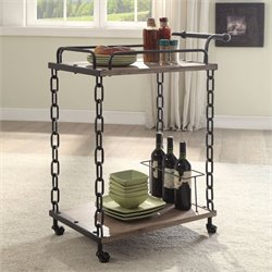 ACME Furniture Jodie Serving Cart in Rustic Oak and Antique Black