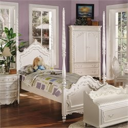 ACME Pearl Twin Poster Bed in Pearl White and Gold