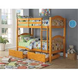 ACME Heartland Twin over Twin Bunk Bed in Honey Oak