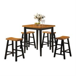 ACME Gaucho 5 Piece Pub Set in Oak and Black