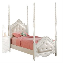 ACME Pearl Tufted Full Poster Bed in Pearl White